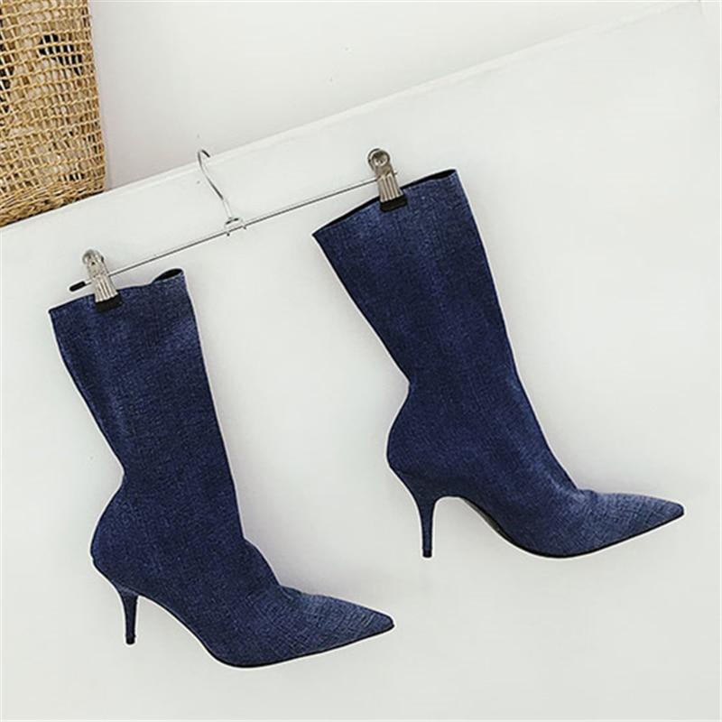 Show Nuevo Tacón As Sexy as Azul Alto Pie Puntiagudo Denim Mujer Negro Casual Otoño Dedo Del calf 2019 De Botas Mid Estilo Zapatos Show g0RgSdq