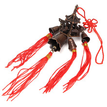 Retro Roof Bell Buddhism Hanging Wind Chimes Temple Lucky Feng Shui Craft Chinese Knot Blessing for Car Home Decor Gift