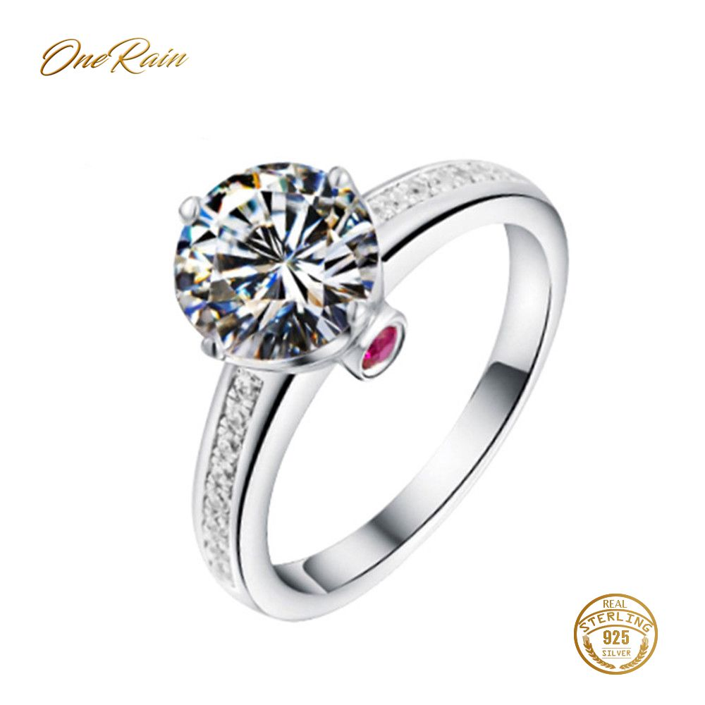 OneRain Vintage 100% 925 Sterling Silver Ruby White Topaz Gemstone Wedding Engagement Cocktaill Ring Jewelry For Women Wholesale