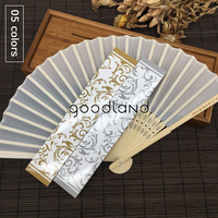 Free Shipping 30pcs Hot Sell Personalized Fabric Folding Held Hand Fan with Gold Silver Gift Box for Wedding Invitation