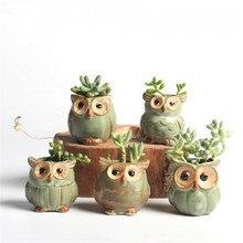 5 шт. качественные милые маленькие цветочные горшки в форме совы, керамические мини горшки для суккулентов, креативные цветочные вазы для дома/сада/офиса