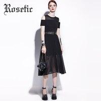 Rosetic Gothic Dresses Black Asymmetrical Sashes Women Summer Patchwork O Neck Cold Shoulder Short Sleeve Goths