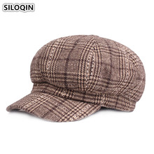 SILOQIN Elegant Fashion Vintage Warm Womens Newsboy Caps Autumn Winter Thicker Ladies Beret Literary Youth Female Hats