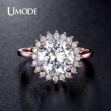 UMODE 2016 New Gold Plated CZ Engagement Rings For Women Wedding Jewelry Fashion Wholesale Halo Rings Bague AUR0364C