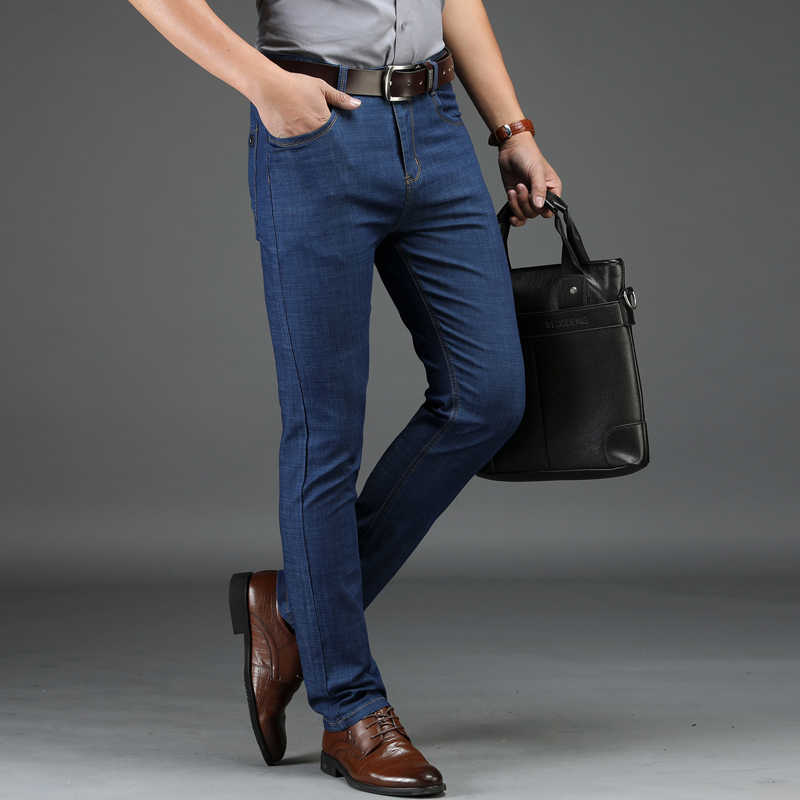 Jeansy męskie jeansy męskie Homme mężczyzna klasyczny vêtement Peto Vaquero Hombre Biker prosto Denim Slim Fit Celana spodnie spodnie moda