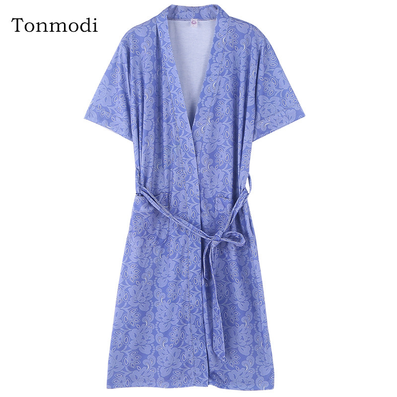 Robes For Women Summer Short Sleeves Sleepwear Robes Fashion flowers Women Lounge Sleep Robe