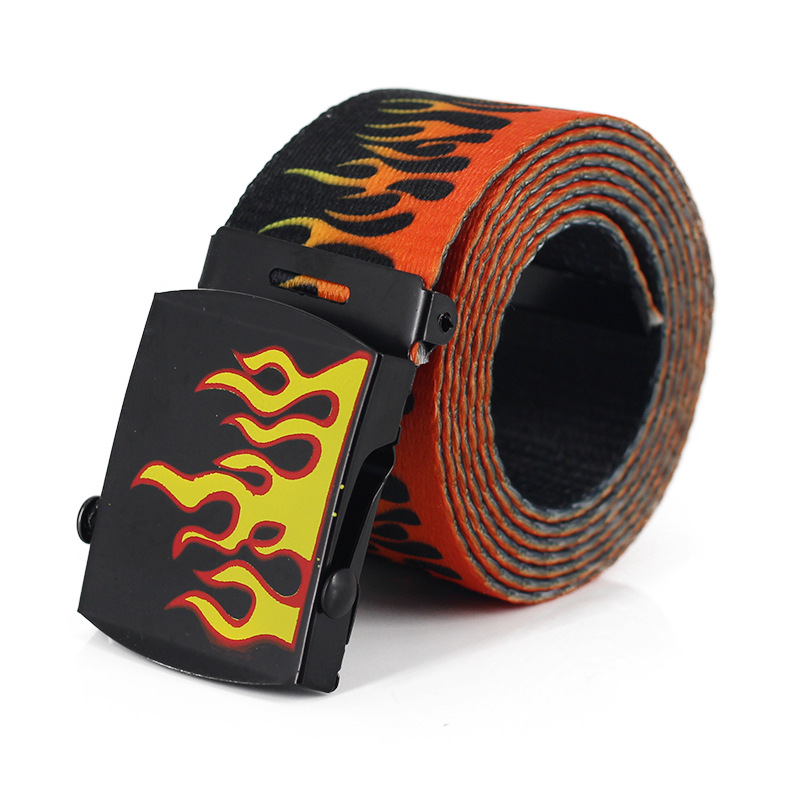 Creative flame print   belts   for men/women fashion nylon Metal Buckle   Belt   High Quality   Belts   Male Luxury Casual Straps Waistband
