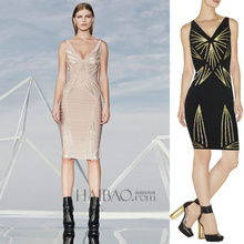 High quality New Dress Luxury fashion Beige and black Sequins Sexy V-neck Bandage dress (L672)