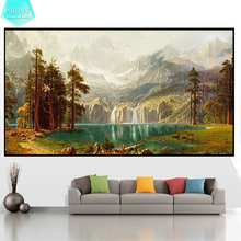 PSHINY 5D DIY Diamond embroidery lake in the forest picture full mosaic kit round rhinestone scenic diamond painting cross stich