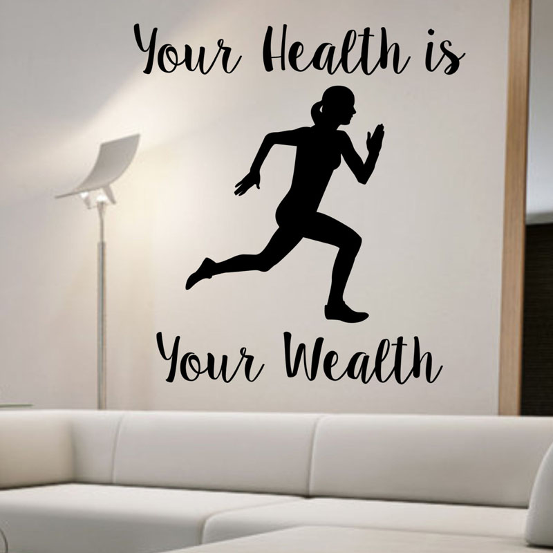 Your Health Is Your Wealth Running Woman Wall Stickers Home Decor Removable Sport Wall Decals Vinyl Wallpaper