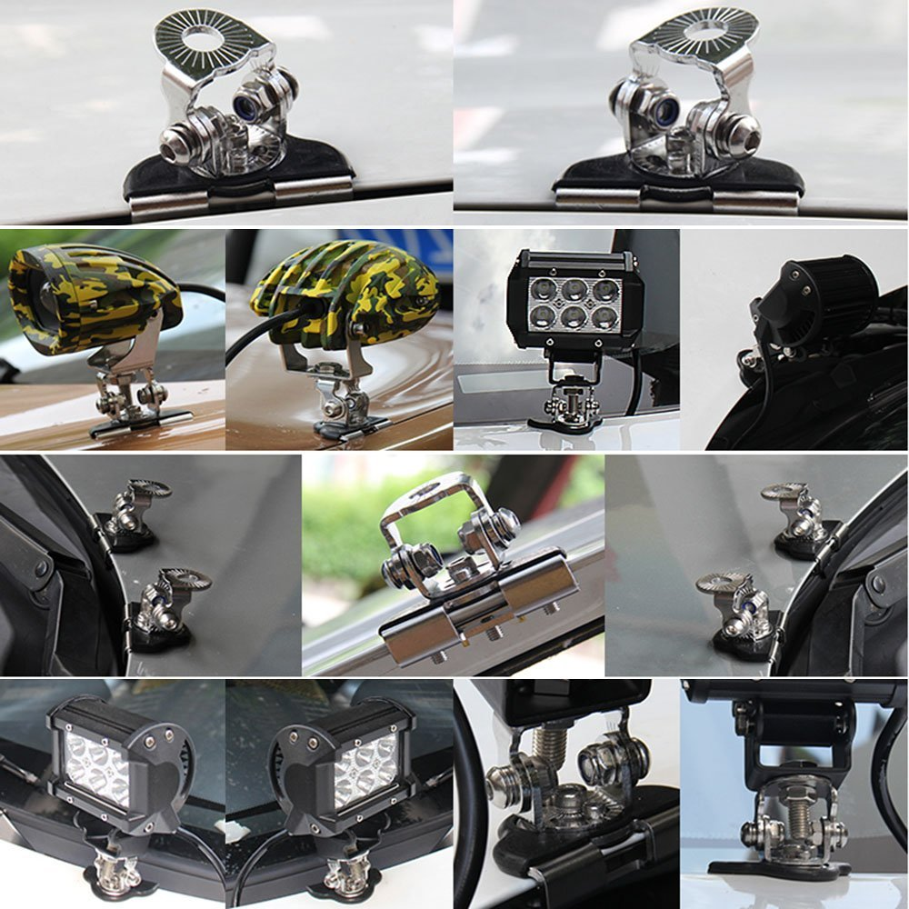 1Pair 4X4 offroad stainless steel Clamp Holder Mount Bracket Universal LED light Mounting Bracket Headlight Brackets