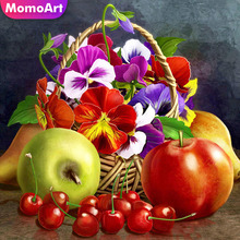 MomoArt Diamond Embroidery Fruit Painting Full Square Rhinestone Mosaic Flowers Landscape