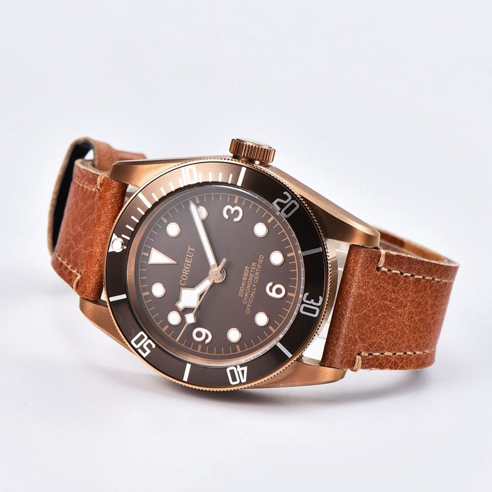 Corgeut 41MM Sapphire Glass coffee dial leather Deployment Buckle 20ATM Mens miyota Automatic mens water resistant Wristwatches 41mm corgeut wristwatches stainless steel case black dial date 20atm miyota 2815 automatic movement mens water resistant watches