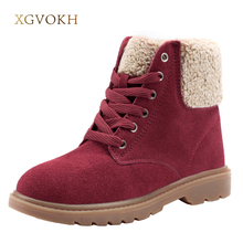 Фотография XGVOKH Women Shoes Winter Warm Cow Suede Leather Ankle Boots Wool High Quality Fashion Women