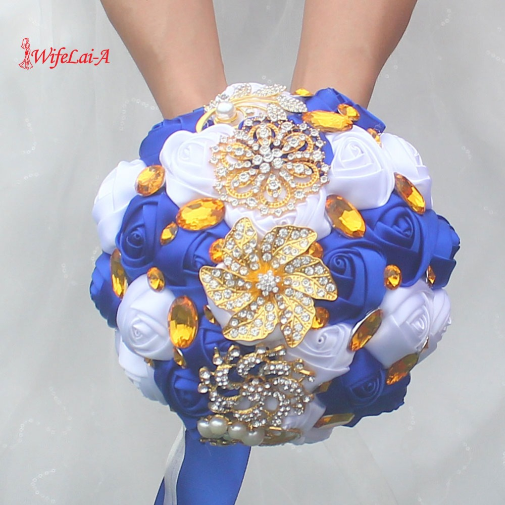 WifeLai-A Gold Brooch Hand Holding Flower Bouquets Custom Royal Blue Ivory Bridal Bridesmaid Crystal Silk Wedding Bouquet  W227