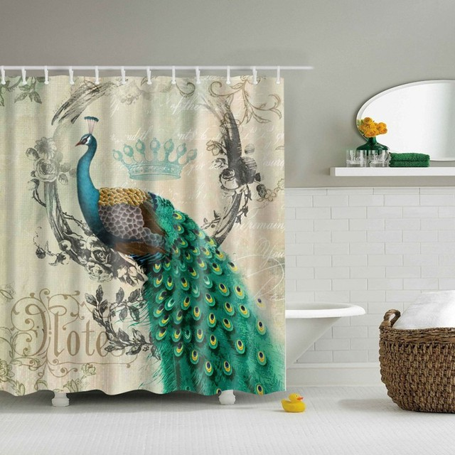 180180CM Polyester Colorfulful Peacock Retro Cartoon Custom 3d Shower Curtain Fabric Bath Waterproof