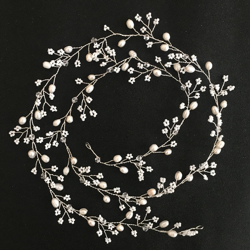SLBRIDAL Handmade Silver Color Crystal Freshwater Pearl Wedding Hair - Fashion Jewelry - Photo 3
