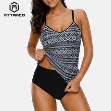 Attraco Women Tankini Set Ladies Swimwear Vintage Floral Print Swimsuit Back Cross Bikini Bathing Suit Beach Wear