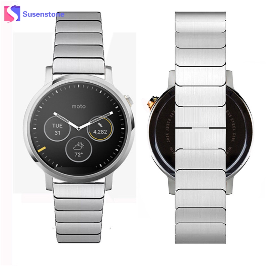 Luxury Full Stainless Steel Band Strap Link Bracelet Watchband For Moto 360 2nd 46mm Wrist Watch Band Replacement Straps men women charming watchband stainless steel watch band for motorola moto 360 2nd 42mm bracelet writ watches straps replacement