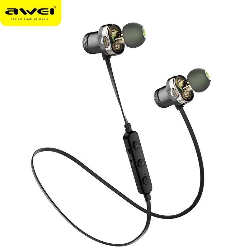 AWEI T13 Bluetooth Kopfhörer Kopfhörer Wireless Headset Stereo Sound Dual Fahrer Earbuds Mit Mic Fone de ouvido Für Telefon Huawei