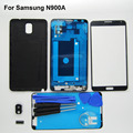 White/Black Full Housing Cover For Samsung Galaxy Note 3 N9005 N900 Case & middle frame & Rear case & front Outer top glass