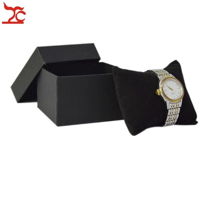 100Pcs kwadrat papieru czarny zegarek pojemnik na pudełko z aksamitna poduszka bransoletka biżuteria wyświetlacz opakowanie 9*8.5*6 cm w Pakowanie i ekspozycja biżuterii od Biżuteria i akcesoria na  Grupa 3