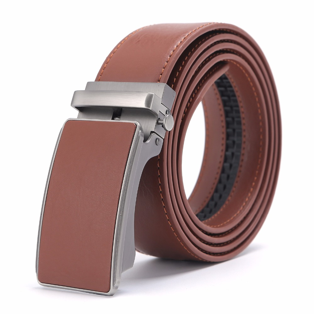 New Designer Popular Luxury Cowhide Leather   Belt   Brown Automatic Buckle Belly Waist Business Casual   Belts   For Men 3.5 Width