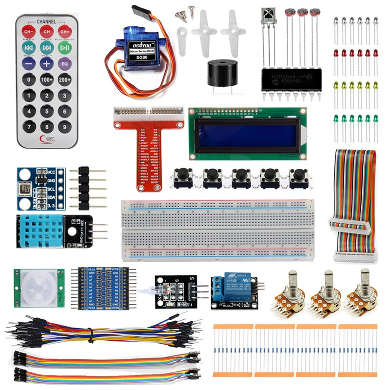 Raspberry Pi 3 Starter Kit Ultimate Learning Suite 1602 LCD SG90 Servo LED Relay Resistors favourite 1602 1f