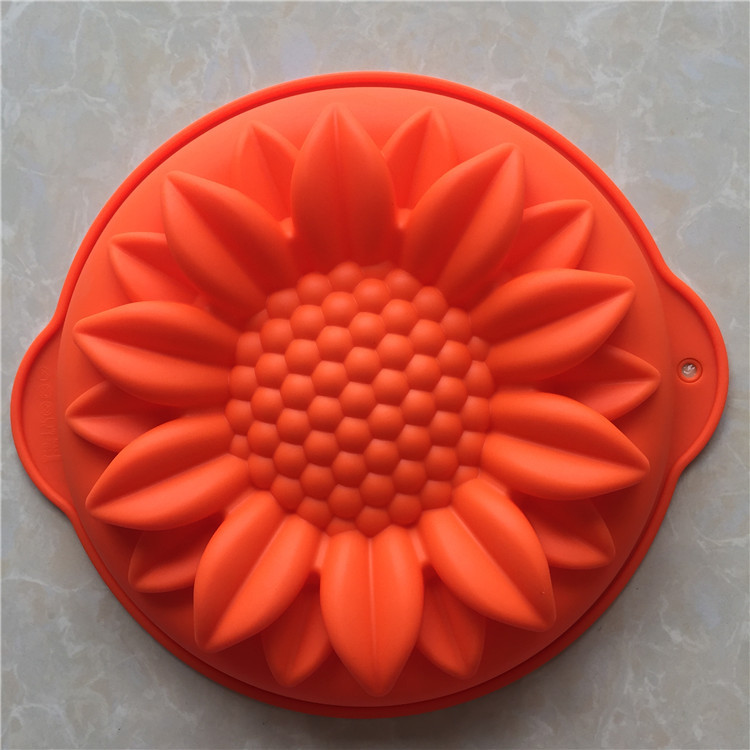 Large Sunflower Shape Round Silicone Cake Pan Creative Cake Mold Kitchenware DIY Mold