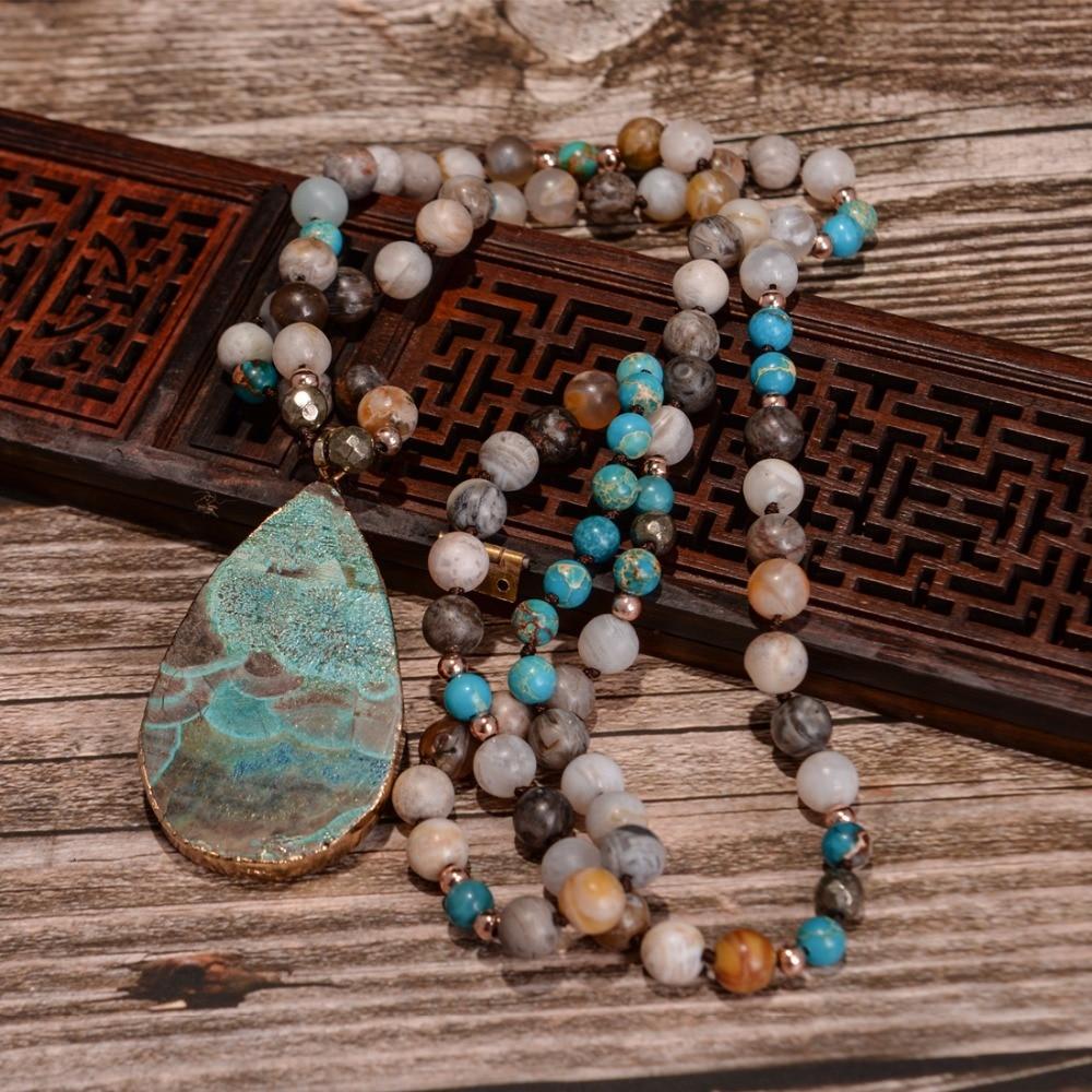 Frauen Mode Handgemachte Boho Halskette Mix Natürliche Steine Big Teardrop Anhänger Halskette Lariat Perlen Geknotet Böhmen Halskette