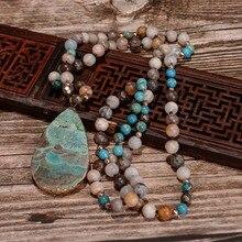 Женская мода ручной работы Boho цепочки и ожерелья Mix натуральный камни Большой ожерелье с подвеской-каплей Лариат бусины завязанный Богемия