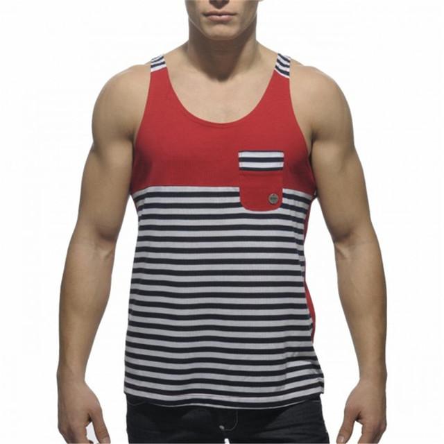 Nueva marca de moda de Algodón Para Hombre Rayada patchwork Gimnasio Mens Tank Tops Chaleco Stringer Larguero Singletes Tank Top Men