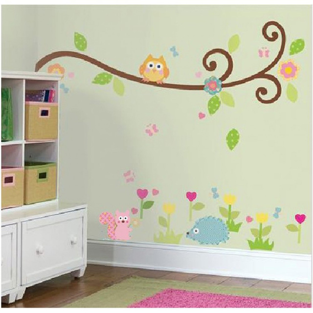 Good Hedgehog Tree Wall Stickers Flowers Owls Wall Decals Cute Animal Stickers  Tree Stickers For Children Room