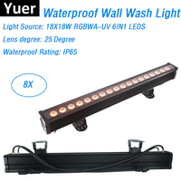 8IN1 Flightcase Packing 18X18W RGBWA UV 6IN1 LED Wall Wash Lights DMX512 Washer Bar LED Effect Lights LED Outdoor Stage Lighting