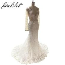 custom made Embroid Lace Mermaid Wedding Dresses 2017 lengan panjang gaun pengantin berkualiti tinggi V leher beading penghantaran percuma