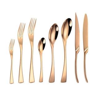 KuBac Hommi 8 Uds juego de cubiertos Rosa dorados brillantes cuchillo de acero inoxidable tenedor cucharilla fiesta vajilla regalo Set Drop Shipping