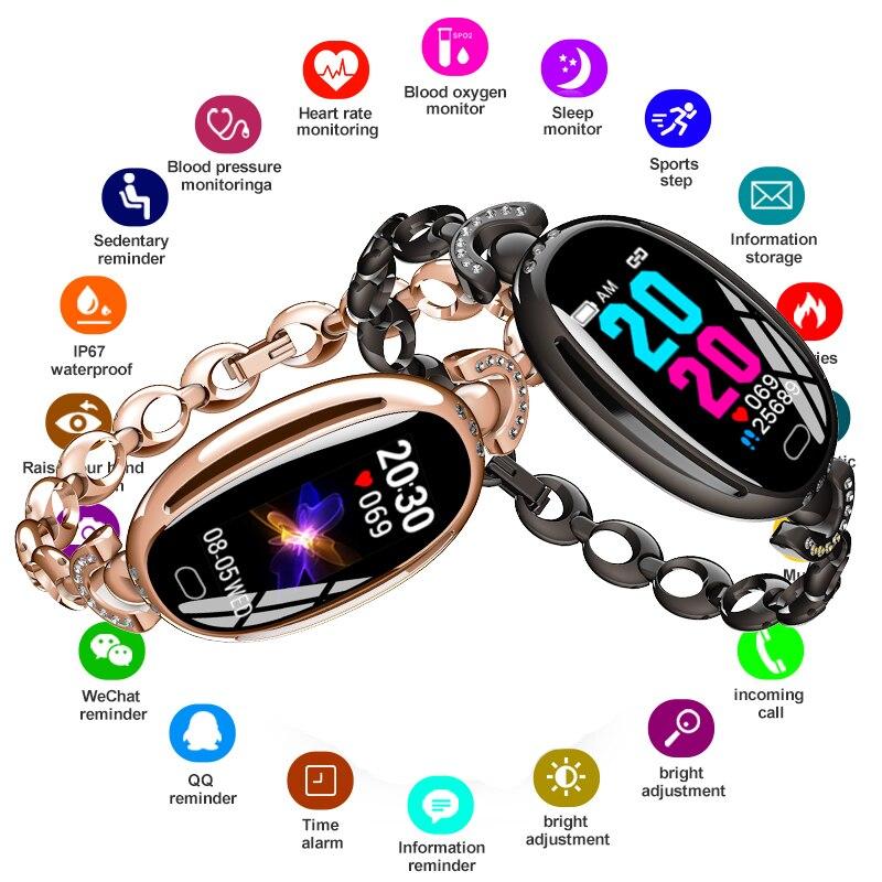 Nouveau luxe femmes dame brillant Smartwatch cadeaux étanche sport montre-bracelet Fitness Tracker moniteur de fréquence cardiaque bracelet intelligent