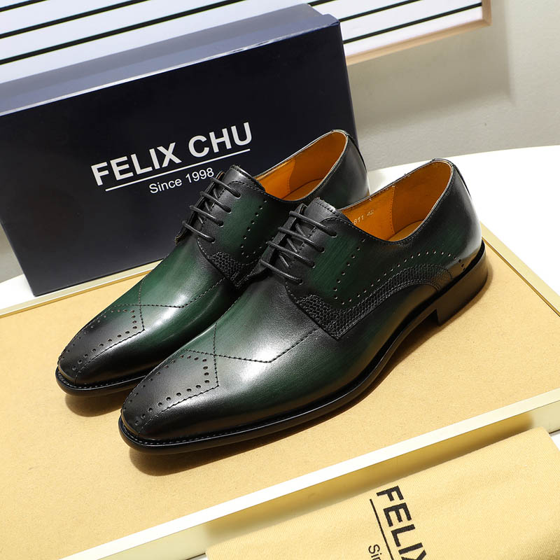 FELIX CHU Luxury Mens Dress Shoes Genuine Leather Pointed Toe Brogue Derby Shoes Green Black Male Lace Up Formal Shoes Leather hot sale mens genuine leather cow lace up male formal shoes dress shoes pointed toe footwear multi color plus size 37 44 yellow