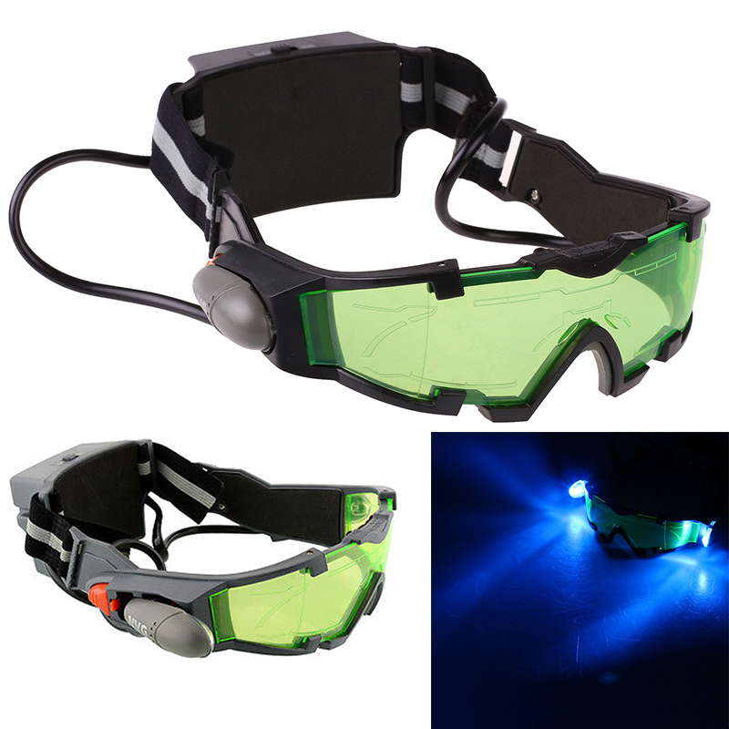Adjustable Windproof Elastic Band Night Vision Goggles Glass Children Protection Glasses Green Lens Eye Shield With LED adjustable windproof elastic band night vision goggles glass children protection glasses green lens eye shield with led