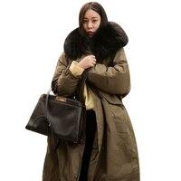 2017 Winter Long Oversized Parkas Faux Fur Collar Hooded Down Jacket Plus Size Warm Fleece Ladies