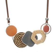 Statement Handmade Pendant Necklaces Trendy Women Bamboo Weaving Choker Necklaces Ladies Collar Jewelry Gift