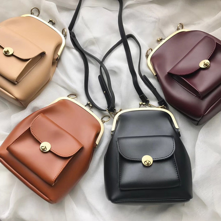 Vintage Metal Buckle Clip Bags Women PU Leather Shoulder Crossbody Bag Designer Brand Ladies Handbags Purse Bolsa Mujer New 2019