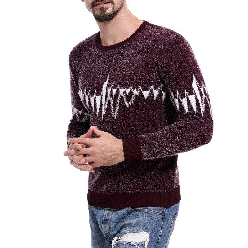 Men Sweater Wear O-Neck Knitting Full-Pullovers Vintage Autumn Winter Men's Fashion Red