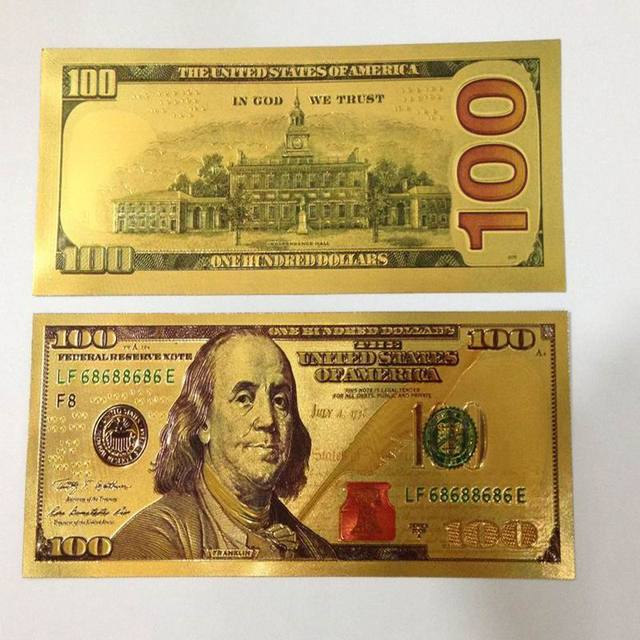 24k Gold Foil Banknote 500 Dollars Paper Money Sided Currency For Value Collection Wedding Home Decoration