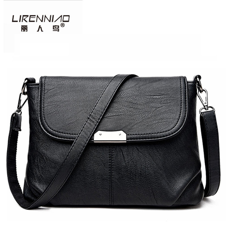LIRENNIAO Brand Women Messenger Bags Small High Quality Black Leather Shoulder Bag Sequined Soft Handbag Woman crossbody bag 2017 fashion all match retro split leather women bag top grade small shoulder bags multilayer mini chain women messenger bags