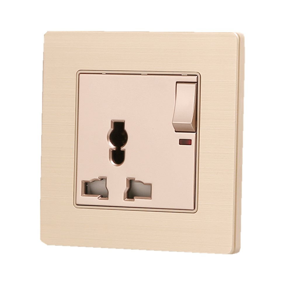 цена на Factory Price Wall Power Socket, Multifunction Universal Electrical Outlet With Switch, Champagne Gold, AC 110~250V