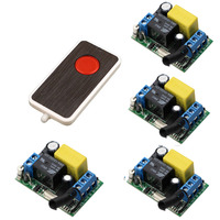 Light Lamp LED Home Appliances RF Remote Control Switch AC220V Remote Switches Radio 4 Pcs Receivers