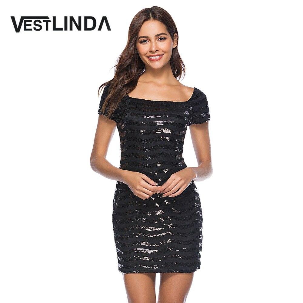 VESTLINDA женское блестящее сексуальное облегающее вечернее платье с коротким рукавом вечернее платье летнее платье-футляр платья с квадратны...