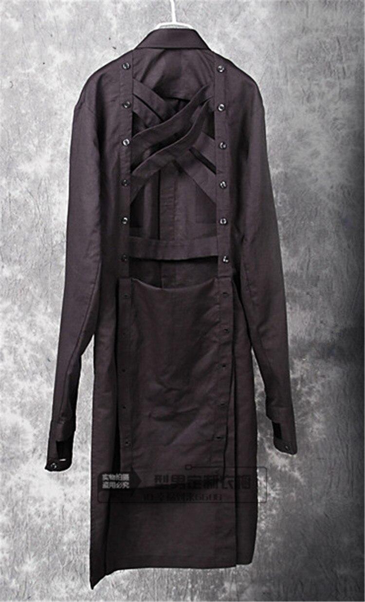 Nouveau 2017 Personnalité Noir Mode Longueur Chemise S Plus Styliste Moyen La Discothèque Vêtements Hommes Chanteur Casual Cheveux 5xl Costumes De Taille wRqEO