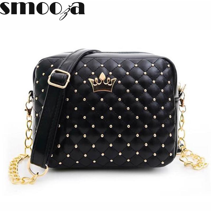 SMOOZA 2017 Women Bag Fashion Women Messenger Bags Rivet Chain Shoulder Bag High